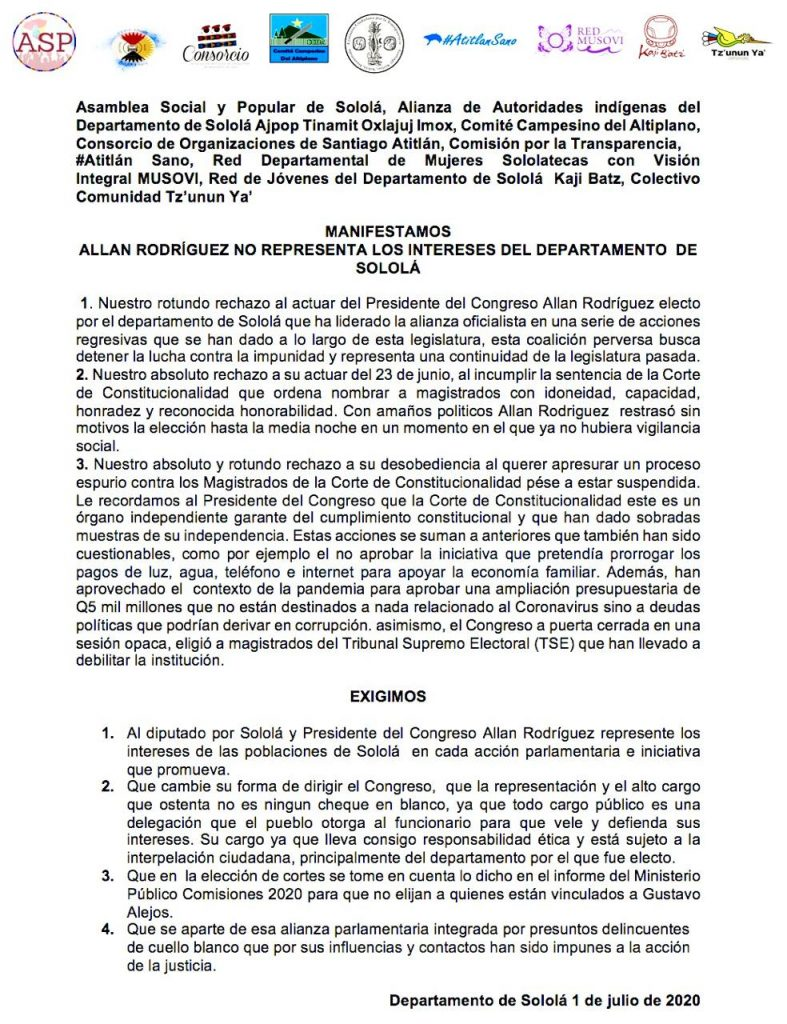 """""""Allan Rodríguez no nos representa"""""""