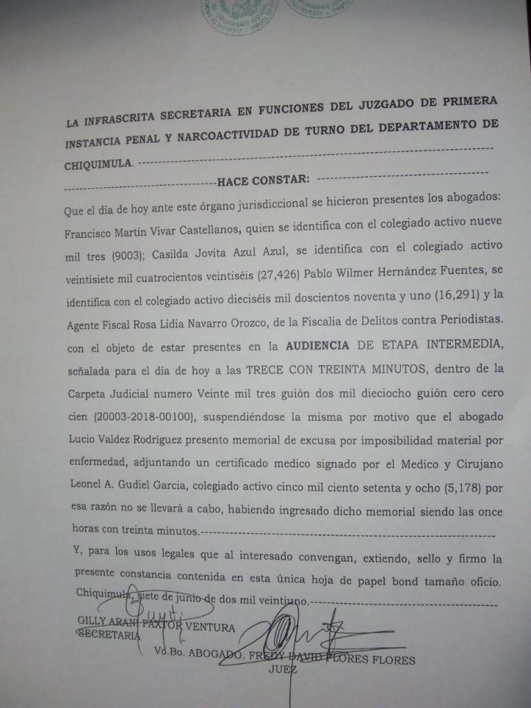Nuevamente cancelan audiencia de caso de periodista comunitaria Norma Sacir